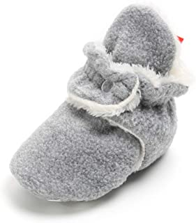 Isbasic Unisex Baby Fleece Lined Cozy Booties Non-Skid Toddler Slippers Infant Winter Warm Socks Shoes
