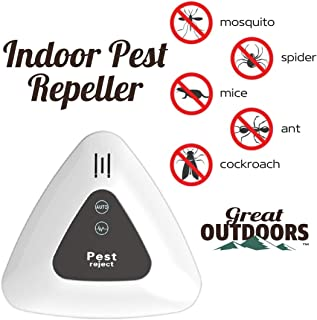 GREAT OUTDOORS Ultrasonic Pest Repeller, ECO-Friendly Electronic Pest Control Plug in, Indoor Pest Defender, Pest Reject for Mosquito, Rodent,Anti, Cockroach, Mosquito, Bug