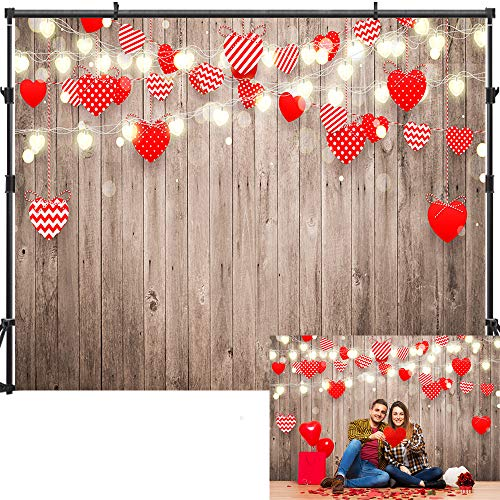 Allenjoy 7x5ft Valentine's Day Backdrop Love Theme Backdrops for Photography Rustic Wooden Wall...