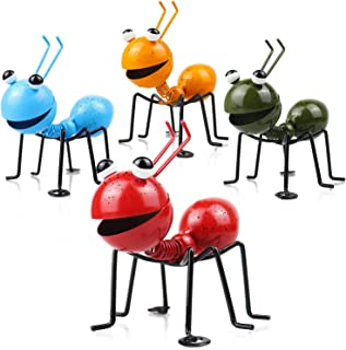 SINYON Metal Ant Wall Ornament, Cute Garden Accents Yard Fence 3D Sculpture Ornaments, Ants Decorative Lawn Bar Bedroom Li...