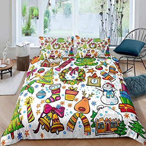 Funda de edredón de Navidad con diseño de dibujos animados, juego de ropa de cama para niños, niñas, adolescentes, con cierre de cremallera (1 funda de edredón y 2 fundas de almohada), tamaño king