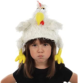 elope Chicken Clucker Costume Hat and Puppet for Adults and Kids White