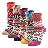 YZKKE 5Pack Womens Vintage Winter Soft Warm Thick Cold Knit Wool Crew Socks, Multicolor, free size