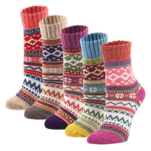 YZKKE 5Pack Womens Vintage Winter Soft Warm Thick Cold Knit Wool Crew...