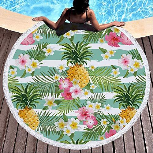 CheeseandU Thick Soft Round Beach Towel Hawaiian Pineapple Flowers Flamingo Large Microfiber Terry Blanket Picnic Carpet Yoga Mat Boho Tablecloth with Fringe for Women Girls Gift Photo Prop 60'