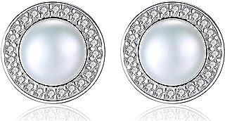Round natural fresh water Pearl Stud Earrings,simple temperament Sterling Silver 925 earrings for women