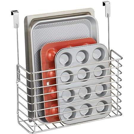 mDesign petite étagère de cuisine – étagère à suspendre – accessoire de rangement pour la cuisine – métal chromé