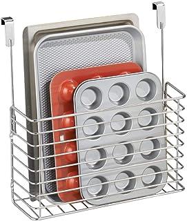 mDesign práctico mueble auxiliar cocina - Estante cocina colgante - Estanteria metalica en color cromado para sus utensili...