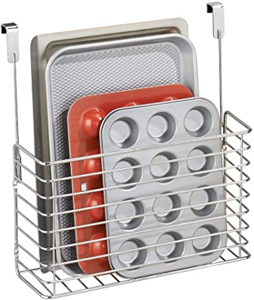 mDesign Over The Cabinet Hanging Storage Basket - Steel Bakeware Organiser and Cutting Board Holder - Excellent Kitchen Storage Solution - Chrome