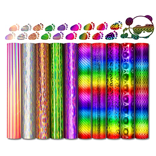 Permanent Adhesive Vinyl, VANSHINIEER 12 Sheets Rainbow Removable Vinyl for Cricut, Holographic Vinyl Paper Bundle for Decals and Craft Cutters