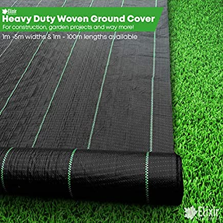 2m x 25m Ground Check Control Cover Mulch Landscape Fabric + 25 Pegs Prime by elixirgardens®