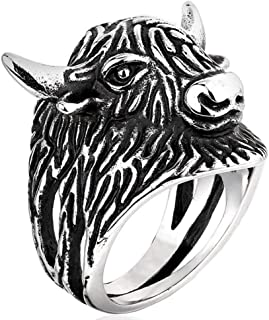 PAURO Hommes Taurus Bull Head Biker Ring Argent Noir Vintage Acier Inoxydable Bijoux pour Animaux
