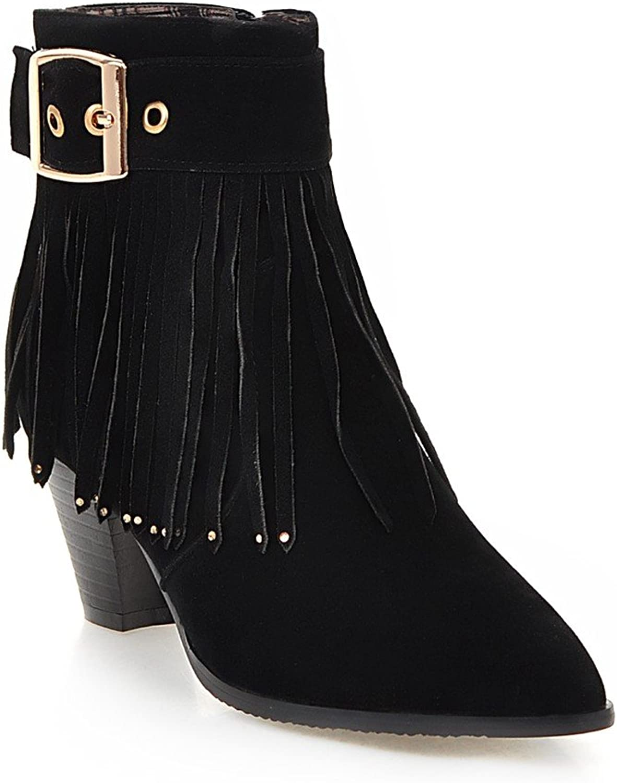 AIWEIYi Womens Faux Suede Pointed Toe Tassel Block Heels Ankle Booties Black
