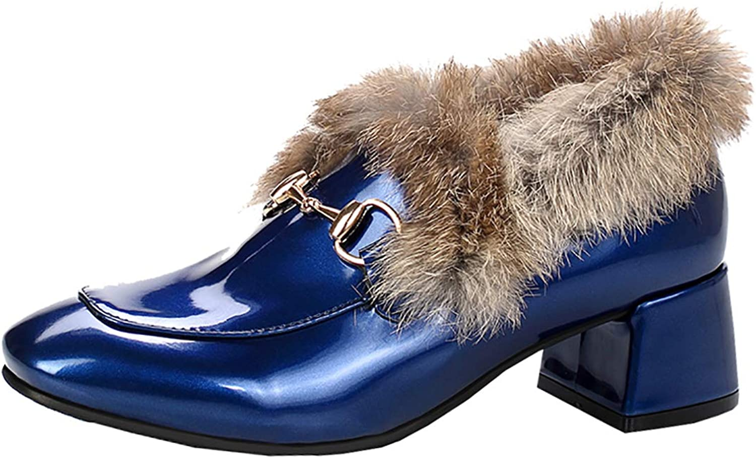 Artfaerie Womens Block Heel Loafers Faux Fur Lined Mid Heel Court shoes