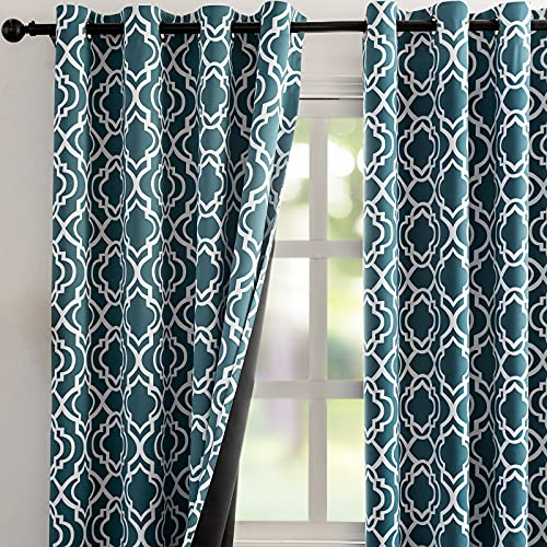 """Reepow Teal Blackout Curtains 84 inch Length for Bedroom Living Room, Soft Heavy Weight Moroccan Full Room Darkening Window Drapes Set of 2 Panels, 52"""" W x 84"""" L"""
