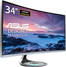 """Asus MX34VQ Designo Curved 34"""" Monitor UQHD 100Hz DP HDMI Eye Care Monitor with Adaptive-Sync, 34"""" (Renewed)"""