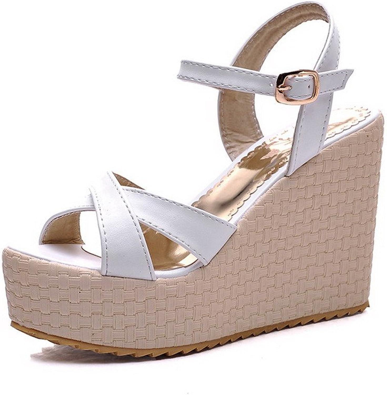 AllhqFashion Women's Buckle Open Toe High Heels Solid Platforms & Wedges