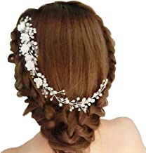 Ziory 1pc Silver Plated Alloy Crystal White Bridal Pearl Wedding Flower Vine with Comb Hairpin Hair Clip Wedding Hair Jewe...