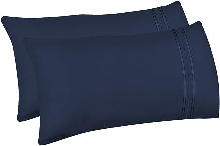 livecomfort 2?- Pack枕カバー、クイーンサイズソフト起毛マイクロファイバー枕カバー、Machine Washableしわ防止通気性 クイーン ブルー