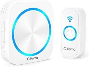 Wireless Doorbell Kit,G-Homa battery operated doorbell, Long Range and Waterproof,58 Chimes & 4 Volumes,Plug-in Electric Receiver, Remote Door Bell Button Portable for Home/Classroom/Bedroom,White.