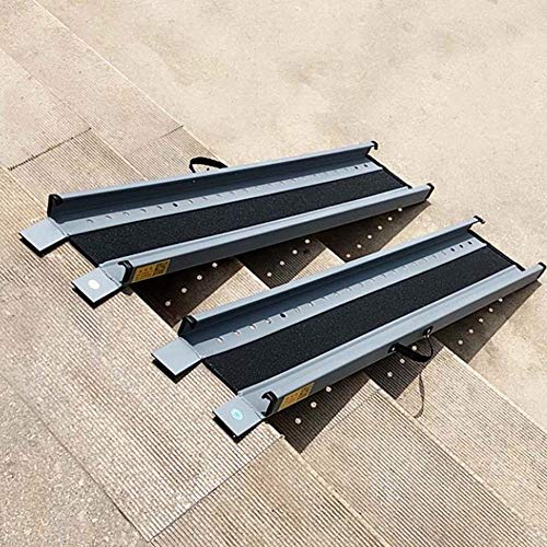 JLXJ Rampe 60cm/100cm/120cm/140cm Lang Rollstuhlrampe/Schwellenrampen, für Zuhause Draußen, Treppen, Stufen, Türen, Auto, Haustiere, Leichtes Aluminium (Size : 60cm(2ft))