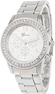 Everpert Rhinestones Women Quartz Mini Dial Stainless Steel Analog Wristwatch/Silver