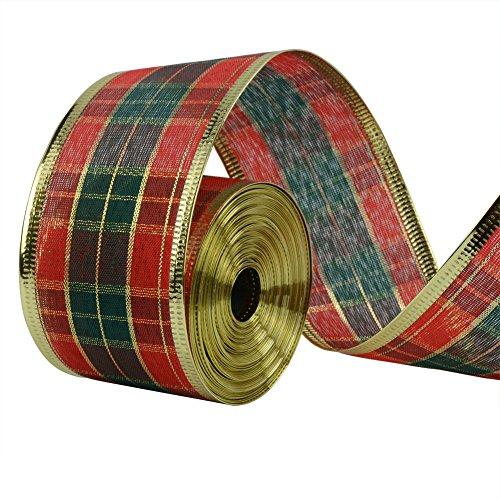 Ruban motif écossais - 10 m - pour couronne de Noël, cadeau de mariage, bricolage, emballage cadeau