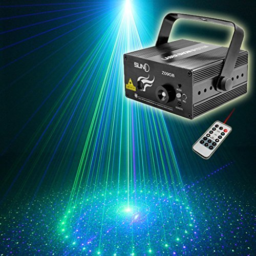 SUNY Laser Lights for Party Music Laser Projector Green Blue 8 Gobos Laser Lights Blue LED Projector Remote Control Sound Activated Stage Lighting Dance Home Decorative Xmas Holiday DJ Light Show