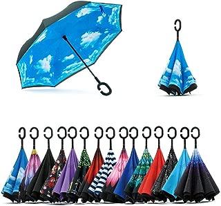 Paraguas Invertido de Doble Capa,Paraguas Plegable de Manos Libres Autoportante,Paraguas a Prueba de Viento Anti-UV para la Lluvia del Coche al Aire Iibre