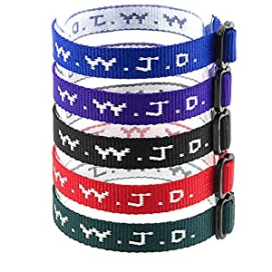 Yleena 50 WWJD Bracelets – What Would Jesus Do Woven Wristbands Per Pack – Religious Christian