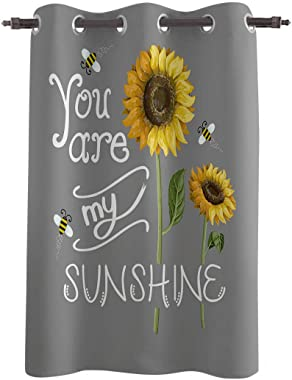 Vandarllin Decorative Window Curtain, Sunflower You are My Sunshine Polyester Fabric Darkening Drapes Grommet Treatments for Home Living Bedroom Kitchen, 52x45in Grey