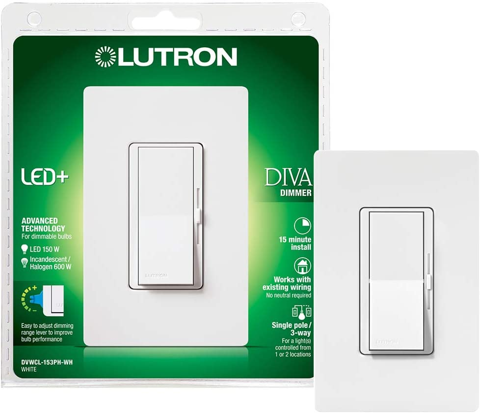 Lutron Diva LED+ Dimmer for Dimmable LED, Halogen and Incandescent Bulbs  with Wallplate   Single-Pole or 3-Way   DVWCL-153PH-WH   White - Dimmer  Switches - Amazon.comAmazon.com