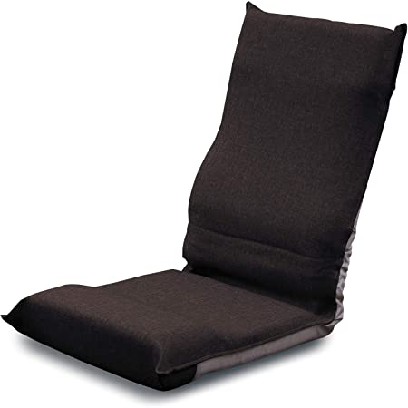 [山善] 座椅子 コンパクト (幅43㎝) 折りたたみ ハイバック 6段階リクライニング お尻がズレにくい 背もたれカーブ (腰サポート) ブラウン IHZ-43(BR) 在宅勤務