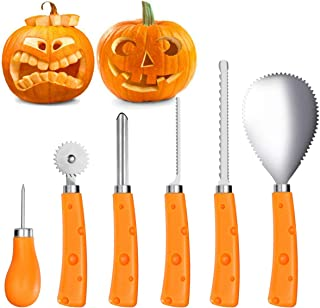 IBASETOY Pumpkin Carving Tools Kit 6 Pieces, Sturdy Stainless Steel Halloween Pumpkin Carving Set - Easily Carve for Family Pumpkin Decorations by Creative Jack-O-Lantern Carving