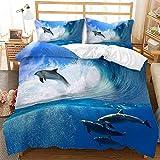 ZYNYHGS Juego de Ropa de Cama Marine Life 3D, tiburón Cama Individual Cama Doble niños Adultos Funda nórdica Suave y cómoda y Funda de Almohada Ropa de Cama Textiles para el hogar-G_135X200cm (2pcs)