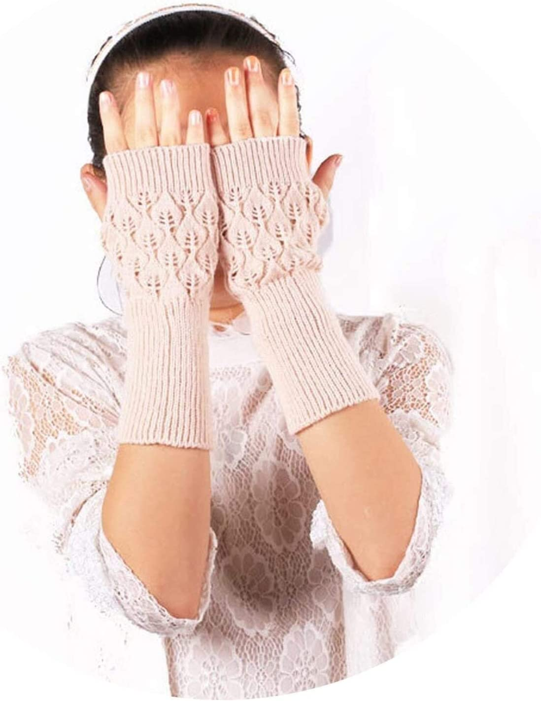 Samantha Warm Gloves Warm Knitted Fingerless Gloves Hollow Out Leaves Long Section Winter Long Fingerless Knitting Wool Mittens (Color : Beige, Size : Oneszie)