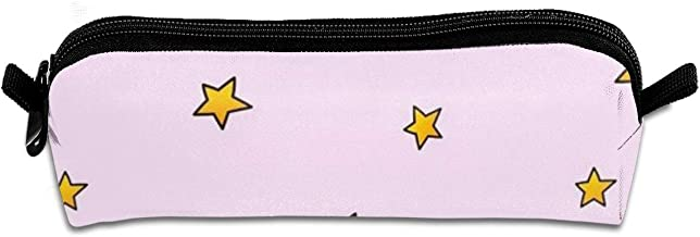 Diemeouk Pencil Case Yellow Star Zippered Pen Bag Cosmetic Makeup Bags for Colored Watercolor Pencils