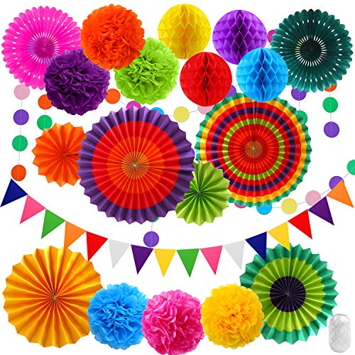 Elcoho 21 Pieces Hanging Paper Fans Tissue Rainbow Pom Poms Flower Honeycomb Balls Garlands Polka Dot Triangle Bunting for Birthday, Wedding, Fiesta, Mexican Party