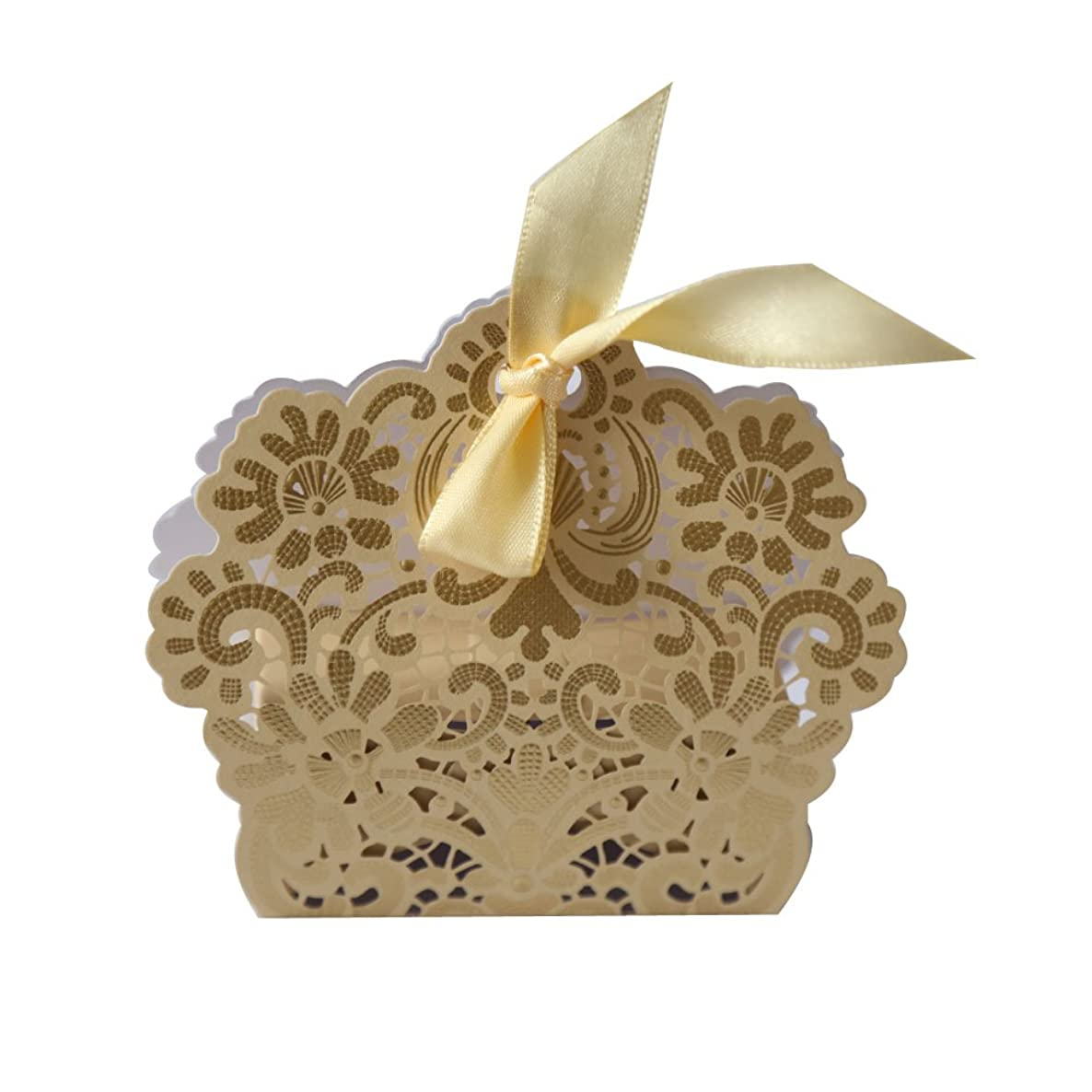 HappyEvents Laser Cut Candy Boxes with Lace Ribbon Party Favors Cheap (Gold)