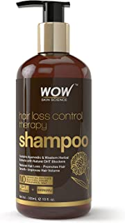 WOW Skin Science Hair Loss Control Therapy Shampoo - Increase Thick & Healthy Hair Growth - Contains Ayuvedic & Western Herbal Extracts with Natural DHT Blockers - For All Hair Types - 300 mL