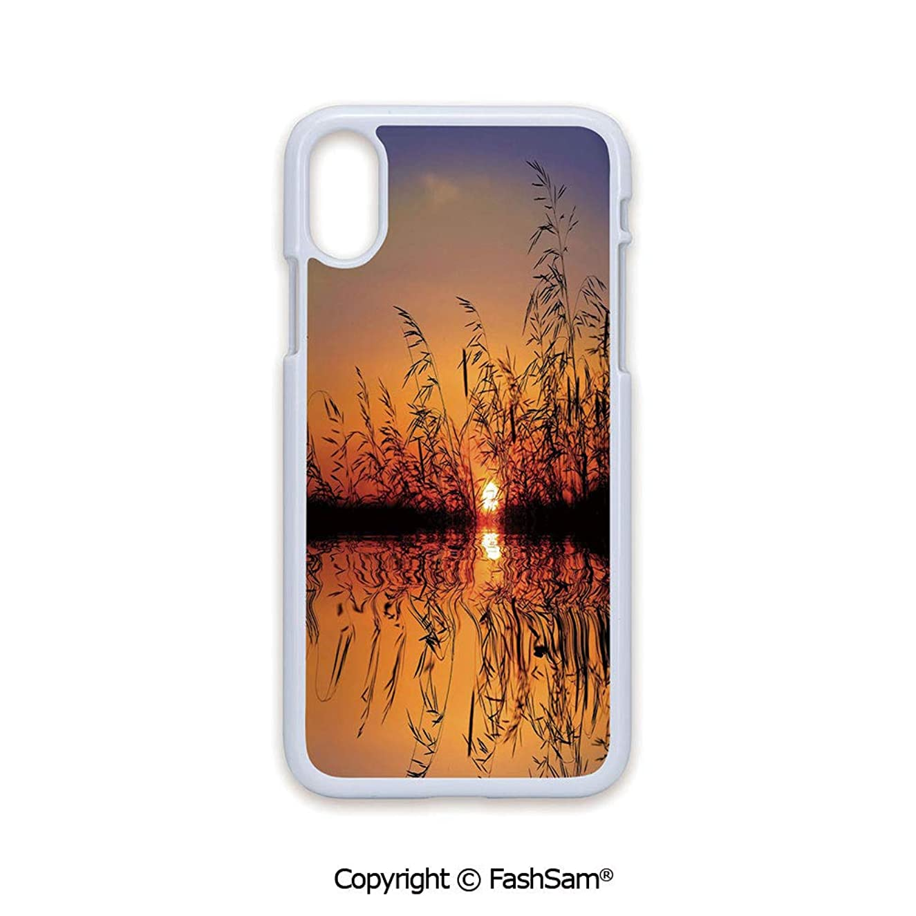Plastic Rigid Mobile Phone case Compatible with iPhone X Black Edge Lake Sunset with Long Reeds Romantic Botanical Ombre Like Scenery Photo Image 2D Print Hard Plastic Phone Case