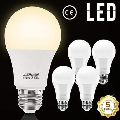 AVAWAY 5 Pack E26 LED Light Bulbs Warm White 9W...