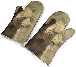 not Wild Grizzly Bear Oven Mitts with Polyester Fabric Printed Pattern,1 Pair of Heat Resistant Oven Gloves for Cooking,Baking,Grilling,Barbecue Potholders
