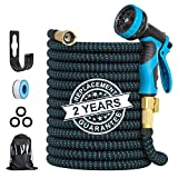 Expandable Garden Hose, 50 FT Flexible Water Hose with Anti-leak System & 10 Patterns Spray Nozzle, Heavy Duty Kink Free Hose for Watering/ Car Washing