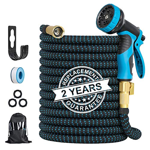 Expandable Garden Hose, 100FT Flexible Water Hose with Anti-leak System & 10 Patterns Spray Nozzle, Heavy Duty Kink Free Hose for Watering/ Car Washing