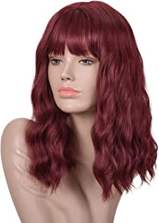 Goodly Burgundy Wine Red Wigs for Women Natural Looking Short Wavy Curly Burgundy Wine Red Wig with Bangs Synthetic Heat Resistant Fiber Wigs for Daily Cosplay 14 inch (Burgundy Wig)