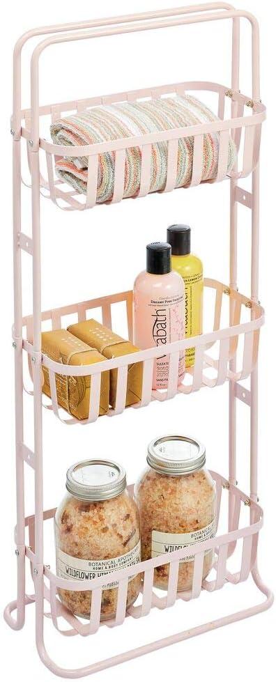 mDesign Estantería de baño móvil – Mueble organizador estrecho con 3 cestas metálicas – Estante de metal compacto para el cuarto de baño – rosa claro
