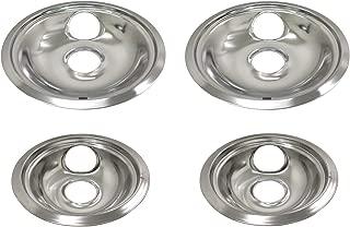 Tosva 4 Pack Chrome Stove Drip Pan Kit for Whirlpool W10278125 Two 6