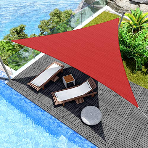 Windscreen4less Sun Shade Sail for Outdoor Patio Backyard UV Block Awning with Steel D-Rings 4ft x 4ft x 4ft Red Triangle Included Free Pad Eyes – Custom Size