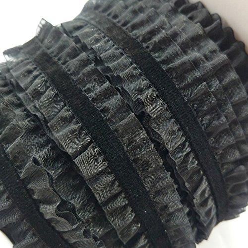 Chenkou Craft Upick 5 Yards 1'(25mm) Double Ruffle Velvet Stretch Headband Elastic Trim (Black)
